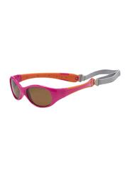 Koolsun Full Rim Flex Sunglasses Kids Unisex, Mirrored Silver Lens, KS-FLPO003, 3-6 years, Hot Pink/Orange