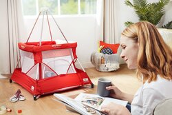 BabyHub SleepSpace Travel Cot, Ruby Red