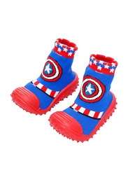 Cool Grip Captain America Baby Shoe Socks for Boys, Size 23, 36-48 Months, Blue