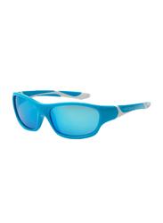 Koolsun Full Rim Sport Sunglasses for Boys, Ice Blue Revo Lens, KS-SPBLSH003, 3-8 years, Aqua/White