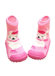 Cool Grip Skating Bear Baby Shoe Socks for Girls, Size 20, 12-18 Months, Orange