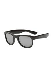 Koolsun Full Rim Wave Sunglasses Kids Unisex, Mirrored Silver Lens, KS-WABO001, 1-5 years, Black Onyx
