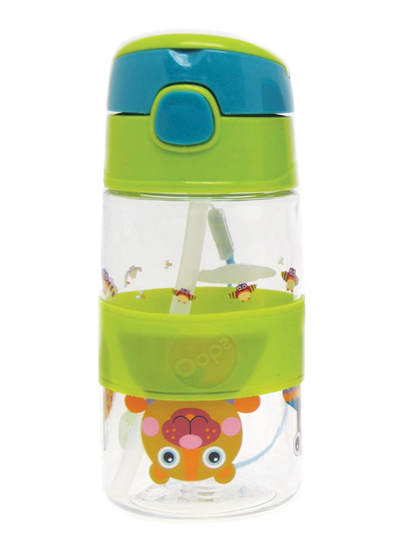 Oops Chic Cool Straw Water Bottle 400ml, Forest, Green