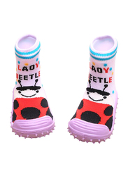 Cool Grip Lady Beetle Baby Shoe Socks Unisex, Size 23, 36-48 Months, Pink