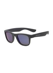 Koolsun Full Rim Wave Sunglasses Kids Unisex, Mirrored Silver Lens, KS-WAGM003, 3-10 years, Gunmetal