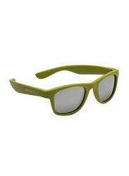 Koolsun Full Rim Wave Sunglasses Kids Unisex, Mirrored Silver Lens, KS-WAOB003, 3-10 years, Army Green