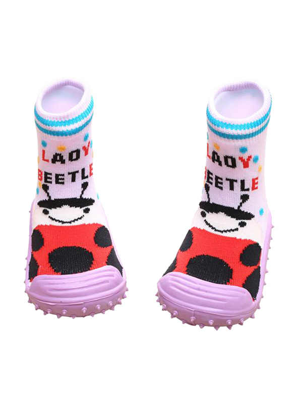 Cool Grip Lady Beetle Baby Shoe Socks Unisex, Size 19, 9-12 Months, Pink