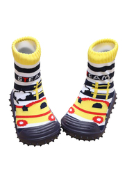 Cool Grip Steam Engine Baby Shoe Socks Unisex, Size 19, 9-12 Months, Yellow