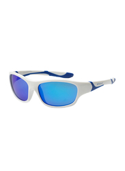 Koolsun Full Rim Sport Sunglasses for Boys, Ice Blue Revo Lens, KS-SPWHSH003, 3-8 years, White/Blue