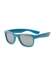 Koolsun Full Rim Wave Sunglasses for Boys, Mirrored Green Lens, KS-WACB003, 3-10 years, Cendre Blue