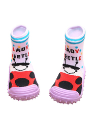 Cool Grip Lady Beetle Baby Shoe Socks Unisex, Size 21, 18-24 Months, Pink