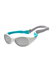 Koolsun Full Rim Flex Sunglasses Kids Unisex, Mirrored Silver Lens, KS-FLWA000, 0-3 years, White/Aqua