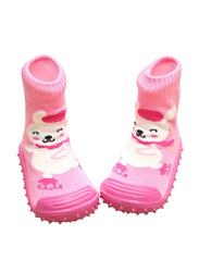 Cool Grip Skating Bear Baby Shoe Socks for Girls, Size 22, 24-36 Months, Orange