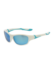 Koolsun Sport Full Rim Sunglasses for Kids, Ice Blue Revo Lens, 3-8 Years, White Ice Blue