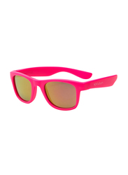 Koolsun Full Rim Wave Sunglasses for Girls, Mirrored Pink Lens, KS-WANP003, 3-10 years, Neon Pink
