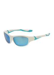 Koolsun Sport Full Rim Sunglasses for Kids, Ice Blue Revo Lens, 6-12 Years, White Ice Blue