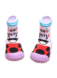 Cool Grip Lady Beetle Baby Shoe Socks Unisex, Size 22, 24-36 Months, Pink