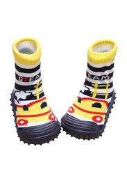 Cool Grip Steam Engine Baby Shoe Socks Unisex, Size 22, 24-36 Months, Yellow