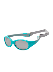 Koolsun Full Rim Flex Sunglasses for Boys, Mirrored Silver Lens, KS-FLAG003, 3-6 years, Aqua/Grey