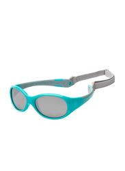 Koolsun Full Rim Flex Sunglasses for Boys, Mirrored Silver Lens, KS-FLAG003, 3-6 years, Aqua/Grey