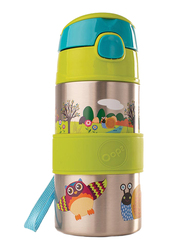 Oops Chic Cool Stainless Steel Straw Water Bottle 400ml, Forest, Green