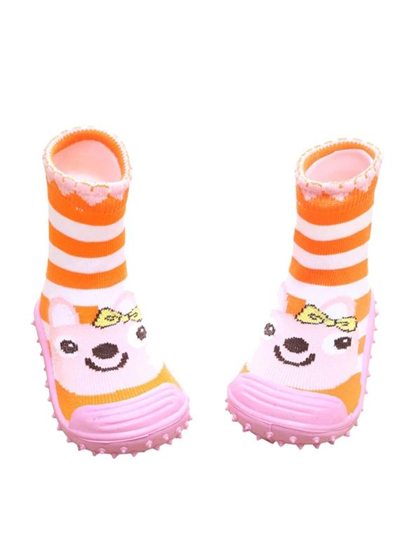 Cool Grip Bunny Orange Baby Shoe Socks Unisex, Size 21, 18-24 Months, Orange