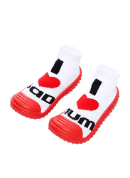 Cool Grip I Love Dad - I Love Mom Baby Shoe Socks Unisex, Size 22, 24-36 Months, Red