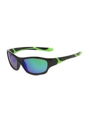 Koolsun Sport Full Rim Sunglasses for Kids, Lime Revo Lens, 6-12 Years, Black Lime