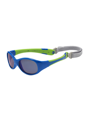 Koolsun Full Rim Flex Sunglasses for Boys, Mirrored Silver Lens, KS-FLBL003, 3-6 years, Blue/Lime