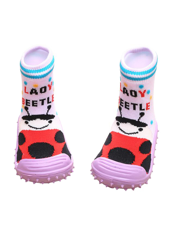 Cool Grip Lady Beetle Baby Shoe Socks Unisex, Size 20, 12-18 Months, Pink