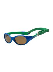 Koolsun Full Rim Flex Sunglasses Kids Unisex, Mirrored Silver Lens, KS-FLRS003, 3-6 years, Royal/Green