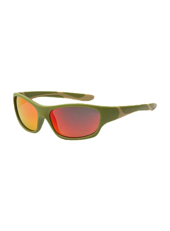 Koolsun Full Rim Sport Sunglasses Kids Unisex, Mirrored Orange Revo Lens, KS-SPOLBR006, 6-12 years, Army Green/Taos Taupe