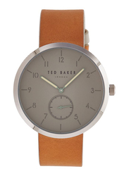 Ted Baker Analog Watch for Men with Leather Band, Water Resistant, TE50011008, Brown-Grey