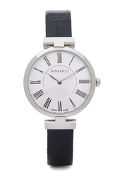Nina Ricci Analog Watch for Women with Leather Band, Water Resistant, N NR106003SM, Black-White