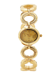 Mon Grandeur Analog Watch for Women with Metal Band, Water Resistant, HG3811LGP, Gold