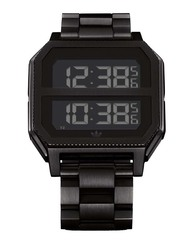 Adidas Archive MR2 Digital Watch for Men with Stainless Steel Band, Water Resistant, Z07-2977-00, Black