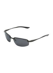 Oxygen Half Rim Sport Sunglasses for Men, Grey Lens, OX8992-C3, 64/16/135