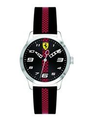 Scuderia Ferrari Pitlane Analog Unisex Watch with Silicone Band, Water Resistant, 860002, Black