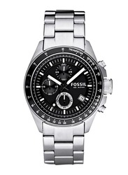 Fossil Analog Watch for Men with Stainless Steel Band, Water Resistant and Chronograph, CH2600, Silver-Black