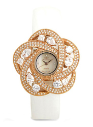 Mon Grandeur Analog Watch for Women with Leather Band, Water Resistant, Stone Studded, GR-IN82346, White-Off White