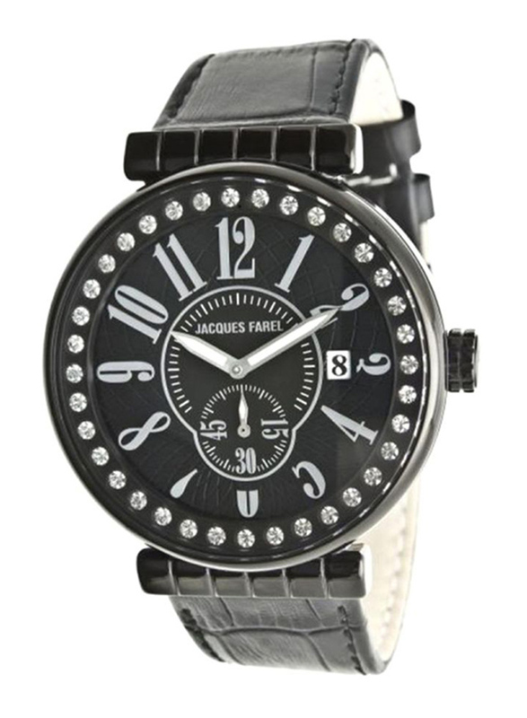 Jacques Farel Analog Unisex Watch with Leather Band, Water Resistant, ATB3333, Black