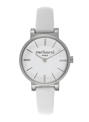 Cacharel Analog Watch for Women with Leather Band, Water Resistant, CLD027/BB, White-White/Silver