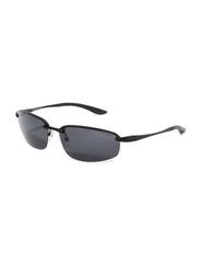 Oxygen Half Rim Sport Sunglasses for Men, Grey Lens, OX8992-C2, 64/16/135