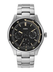 Fossil Analog Watch for Men with Stainless Steel Band, Water Resistant and Chronograph, FS5575, Silver-Black