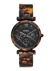 Fossil Limited Collection Carlie Analog Watch for Women with Ceramic Band, Water Resistant and Chronograph, ES4659, Tortoise Brown-Black