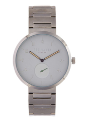Ted Baker Analog Watch for Men with Stainless Steel Band, Water Resistant, TE50011010, Silver-White