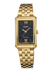 Orient Overseas Model Analog Watch for Women with Gold Plated Metal Band, Water Resistant, SQCBM001B0, Gold-Black