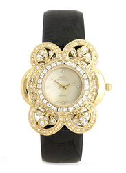 Mon Grandeur Analog Watch for Women with Leather Band, Water Resistant and Stone Studded, GR-IN82453, Black-Gold