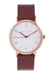 Ted Baker Analog Watch for Men with Leather Band, Water Resistant, TE50276002, Brown-White
