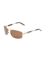 Maxima Polarized Full Rim Rectangular Sunglasses for Men, Brown Lens, MX0010-C14, 63/15/125